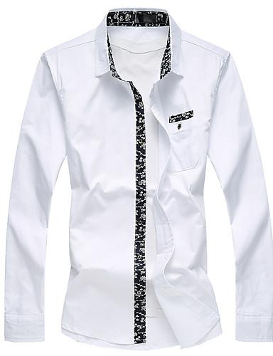 Masculino Camisa Casual / Tamanhos Grandes Floral Manga Comprida Algodão Preto / Azul / Vermelho / Branco