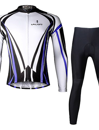 cheap Cycling Clothing-ILPALADINO Men's Long Sleeve Cycling Jersey with Tights - Black Bike Clothing Suit Breathable 3D Pad Quick Dry Ultraviolet Resistant Reflective Strips Sports Lycra Vertical Stripes Mountain Bike MTB