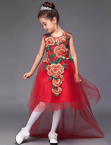 Vestido de vestidos de baile feminino vestido de menina de flor - Tulle sem mangas colar de jóia com applique