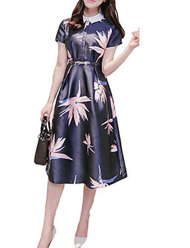여성의 빈티지 A 라인 드레스 프린트 미디 셔츠 카라 폴리에스테르