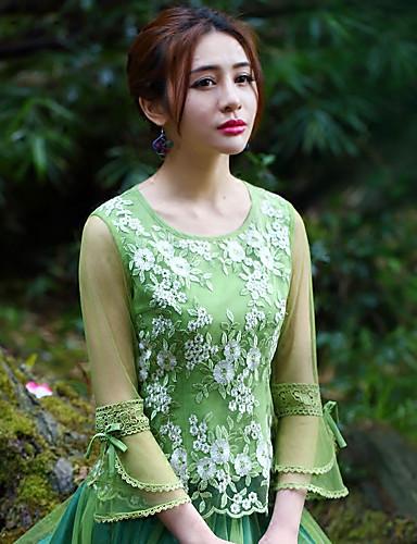 Dames Vintage Lente Herfst T-shirt,Uitgaan Geborduurd Ronde hals Lange mouw Polyester Medium
