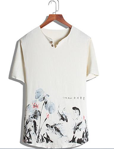 Heren Zomer T-shirt,Casual/Dagelijks Print Korte mouw Katoen