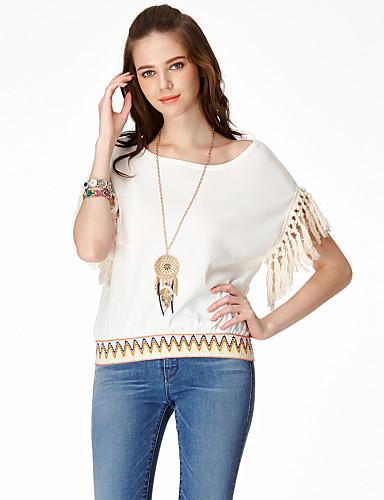 Eenvoudig Zomer T-shirt,Casual/Dagelijks Effen Ronde hals Korte mouw Rayon Nylon Dun