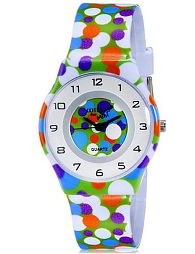 CAGARNY Infantil Relógio de Pulso Quartzo Colorido Plastic Banda Pontos Doce Legal Casual Cores Múltiplas Arco-Íris