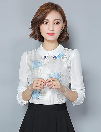 Damen Übergrössen Bluse, Hemdkragen Gerüscht Druck Polyester