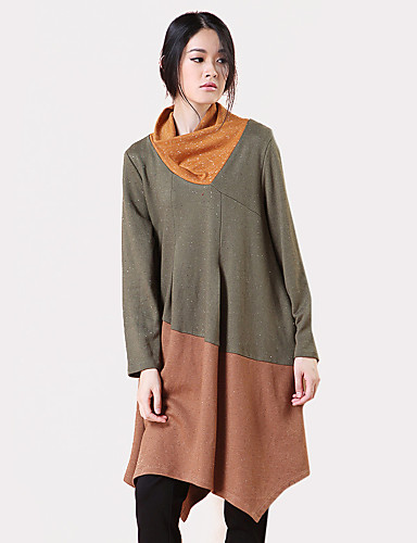 billige Topper til damer-Cowl-hals T-skjorte Dame - Fargeblokk