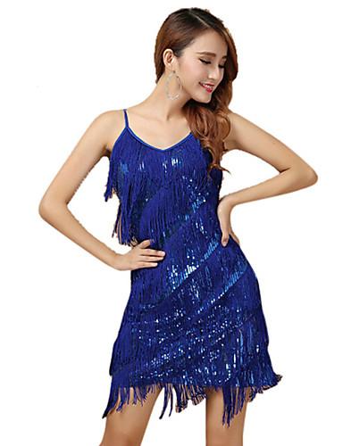 Latin Dance Dresses Women s Performance Polyester Tassel   Paillette  Sleeveless Dress f33a266c2