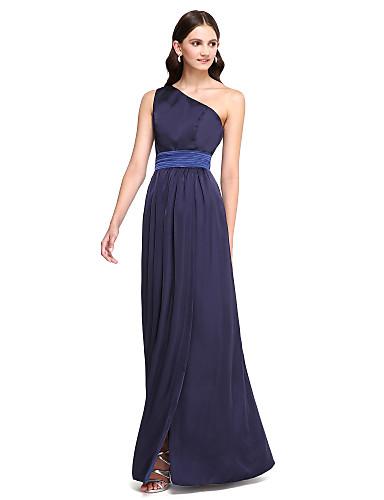 מעטפת \ עמוד כתפיה אחת עד הריצפה סאטן שיפון שמלה לשושבינה  עם סרט / שסע קדמי על ידי LAN TING BRIDE®