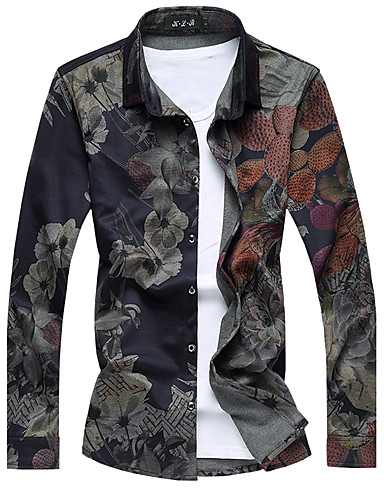 Camisa Social Floral Algodão Colarinho Clássico