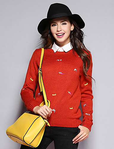sybel kvinders gå ud søde kort pulloverprint rød hals langærmet akryl medium