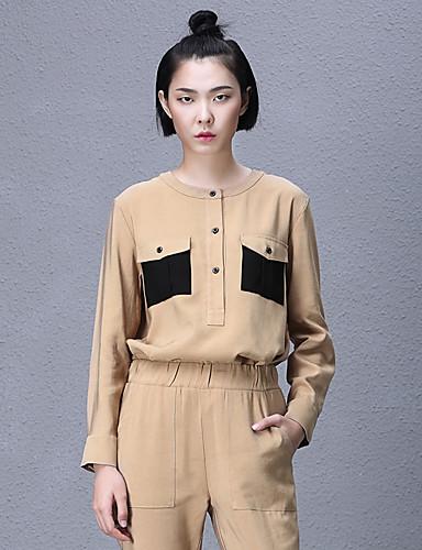 Dames Eenvoudig Lente / Herfst Overhemd,Casual/Dagelijks Kleurenblok Ronde hals Lange mouw Blauw / Bruin Rayon Ondoorzichtig