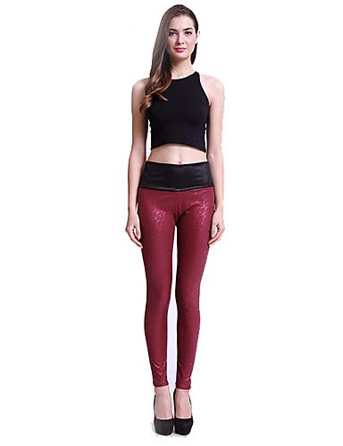 Mujer Diario Básico Legging - Un Color, Estampado Media cintura / Pitillo