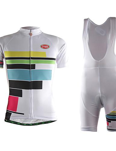 cheap Cycling Clothing-TVSSS Women's Short Sleeve Cycling Jersey with Bib Shorts - White Stripes Bike Clothing Suit 3D Pad Sweat-wicking Sports Lycra Stripes Mountain Bike MTB Road Bike Cycling Clothing Apparel