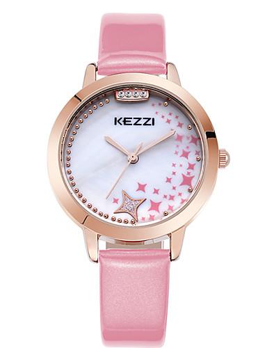 Dames Polshorloge Modieus horloge Vrijetijdshorloge Kwarts Strass / imitatie Diamond Leer Band Informeel Cool Zwart Wit Blauw Roze roze