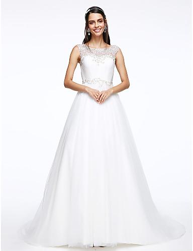 A-Linie Hof Schleppe Tüll Hochzeitskleid mit Perlenstickerei Knopf Drapiert durch LAN TING BRIDE®