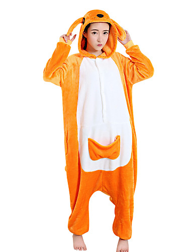 billige Kigurumi-Voksne Kigurumi-pysjamas Kenguru Onesie-pysjamas Polar Fleece Oransje Cosplay Til Damer og Herrer Pysjamas med dyremotiv Tegnefilm Festival / høytid kostymer
