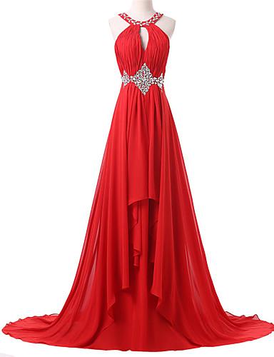 A-Linie Schmuck Pinsel Schleppe Chiffon Formeller Abend Kleid mit Perlenstickerei Plissee durch Shang Shang Xi