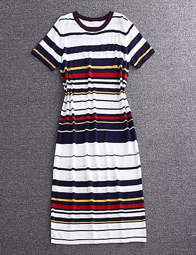 simpel demo gå ud søde kappe dressstriped rund hals midi kortærmet hvid bomuld / polyester sommer