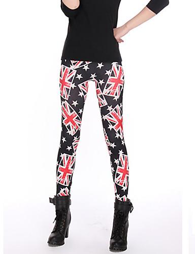 Dames Polyester Medium Print Legging,Zwart