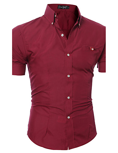 cheap Men's Shirts-Men's Daily Weekend Cotton Slim Shirt - Solid Colored Basic Button Down Collar Pink XL / Short Sleeve / Summer