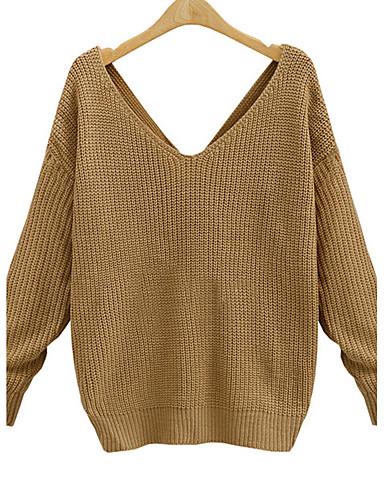 Dames Casual/Dagelijks Sexy Street chic Normaal Pullover Effen-Wit Zwart Grijs Geel V-hals Lange mouw Acryl Herfst Winter Medium