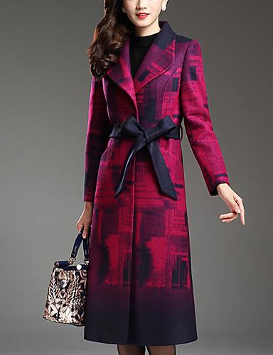 Dames Street chic Herfst Winter Jas,Uitgaan Grote maten Ingesneden revers-Lange mouw Paars Print Dik Wol Polyester