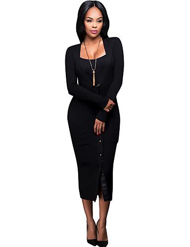Mulheres Casual / Moda de Rua Tubinho Vestido Sólido Decote V Médio / Primavera / Outono