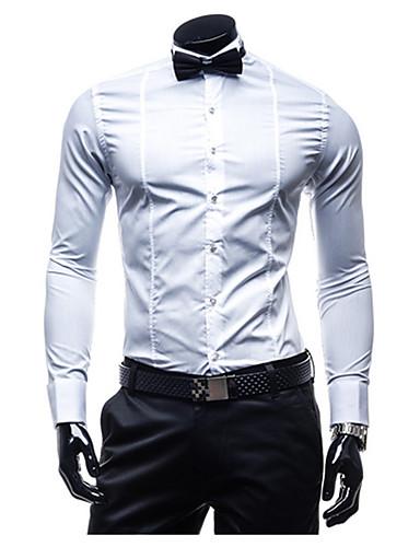 Homens Camisa Social Laço, Sólido Algodão
