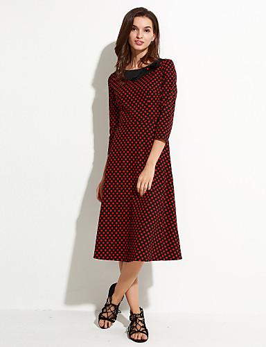 Bayanlar Pamuklu Midi ½ Kol Uzunluğu Yuvarlak Yaka/Fiyonklar Fiyonklar Bayanlar Elbise