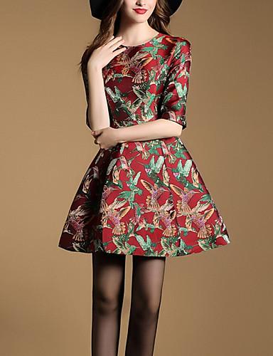 Feminino Bainha Vestido,Casual Simples Jacquard Decote Redondo Acima do Joelho Poliéster Outono Inverno Cintura Média Sem Elasticidade