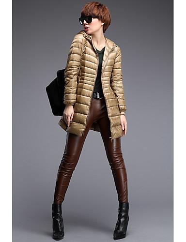 女性用 ソリッド 日常 ストリートファッション プラスサイズ ロング ダウン 長袖 フード付き 冬