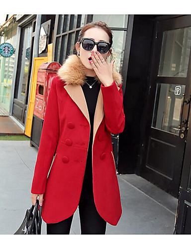 女性 カジュアル/普段着 冬 ソリッド コート,シンプル ブルー / レッド ウール 長袖 ミディアム
