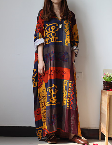 Feminino Túnicas Vestido,Casual Vintage Estampado Decote V Longo Manga Longa Colorido Algodão / Linho Primavera / Outono Cintura BaixaSem