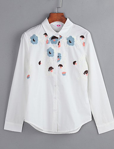 Mulheres Tamanhos Grandes Camisa Social Floral Bordado Algodão Colarinho de Camisa