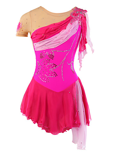 Figure Skating Dress Women's Girls' Ice Skating Dress Spandex Rhinestone Sequin Appliques Lace Tulle High Elasticity Performance Practise