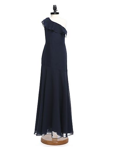 A-Linie Ein-Schulter Boden-Länge Chiffon Junior-Brautjungferkleid mit Rüschen durch LAN TING BRIDE® / Normal