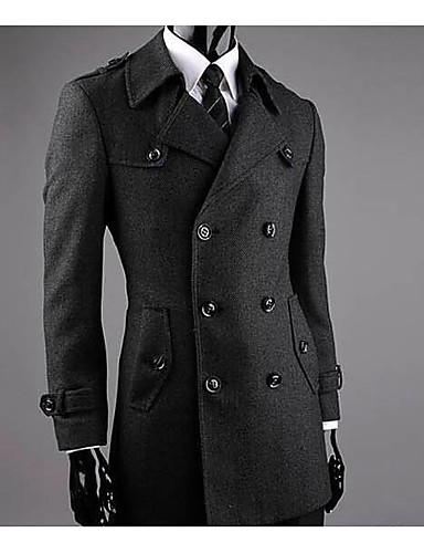 男性 カジュアル/普段着 冬 ソリッド コート,シンプル シャツカラー ブラック ウール 長袖 ミディアム