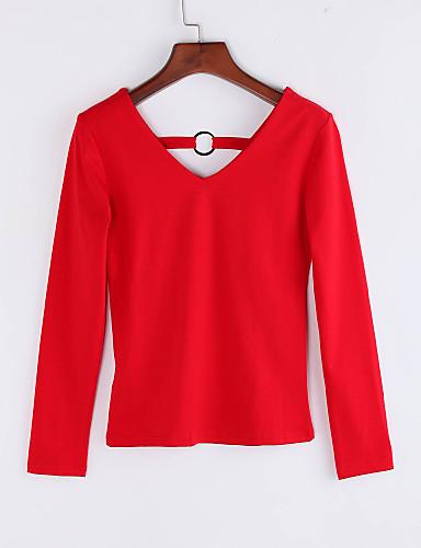 Mulheres Camiseta Casual Simples Outono / Inverno,Sólido Azul / Vermelho / Preto Algodão Decote V Manga Longa Fina