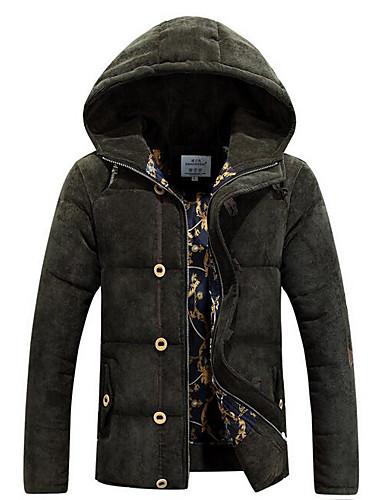 コート レギュラー パッド入り メンズ,カジュアル/普段着 ソリッド ポリエステル ポリプロピレン-シンプル 長袖 フード付き