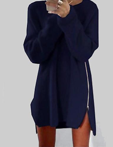 女性 シンプル カジュアル/普段着 シース ドレス,ソリッド ラウンドネック 膝上 長袖 ブルー / ピンク / ベージュ コットン オールシーズン ミッドライズ マイクロエラスティック ミディアム