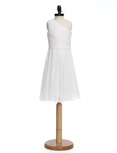 A-lijn Eén-schouder Tot de knie Chiffon Junior bruidsmeisjesjurk met Sjerp / Lint Zijdrapering door LAN TING BRIDE®