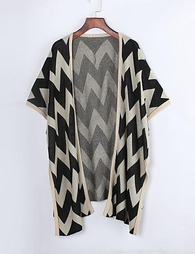 Dame Simpel Casual/hverdag Lang Cloak / Capes Stribet,Beige Asymetrisk 1/2 ærmelængde Polyester Alle årstider Medium Mikroelastisk