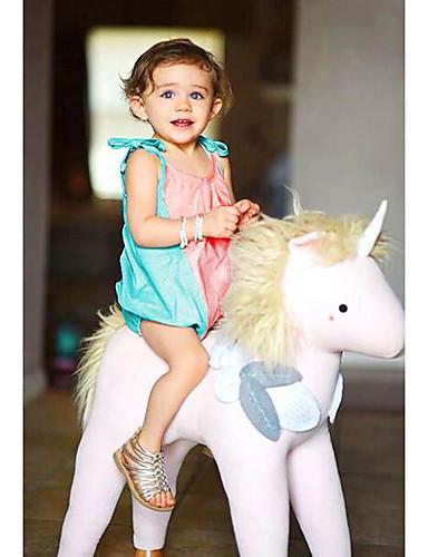 Casual/Dagelijks Effen Katoen Zomer Mouwloos Baby Meisjes Overall & Jumpsuit Blauw