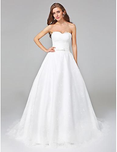 Linha A Decote Princesa Cauda Corte Renda Vestidos de casamento feitos à medida com Laço / Faixa / Fita de LAN TING BRIDE® / Sem costas