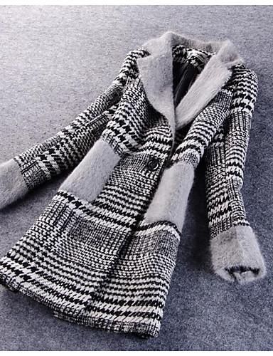 女性 カジュアル/普段着 / プラスサイズ 冬 ストライプ コート,シンプル レッド / ブラック ポリエステル 長袖 ミディアム