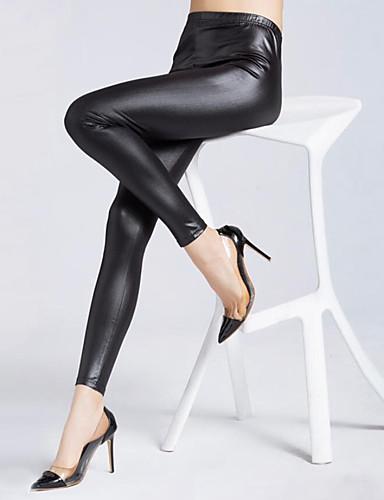 Mulheres Tamanhos Grandes Sensual Cintura Média Micro-Elástica Justas/Skinny Jeans Calças, Poliuretano Outono Sólido