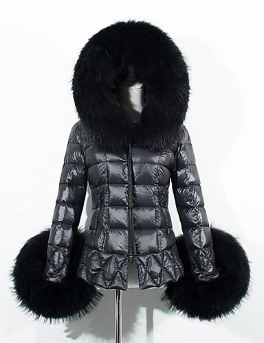 女性用 お出かけ ストリートファッション フード付き パッド入り ソリッド フェイクファー コットン