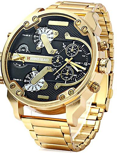Hombre Reloj Deportivo / Reloj Militar / Reloj de Pulsera Calendario / Dos Husos Horarios / Cool Acero Inoxidable Banda Lujo / Vintage / Casual Negro / Marrón / Dorado / Dos año / Sony 377