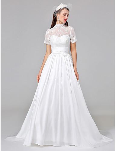 De Baile Ilusão Decote Cauda Corte Renda Tafetá Vestido de casamento com Faixa / Fita Franzido de LAN TING BRIDE®