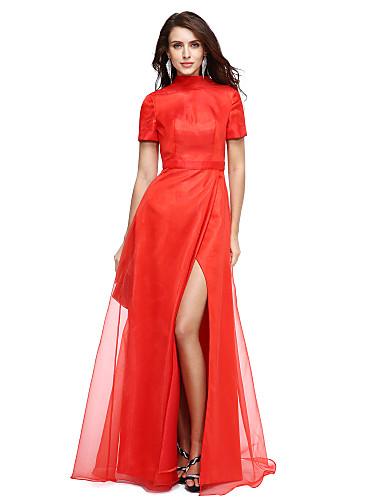 Linha A Gola Alta Longo Organza Evento Formal Vestido com Fenda Frontal de TS Couture®
